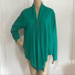 Green Jersey Knit Shrug Open Cardigan Duster 2X